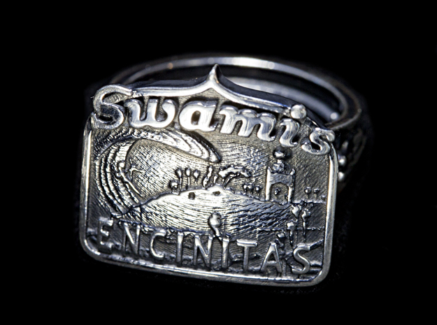 Swamis Encinitas Surf Art Ring - Customizable in Polished Silver