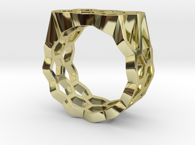 Double Hex Ring, Flat Top, Size 7 in 18k Gold Plated Brass