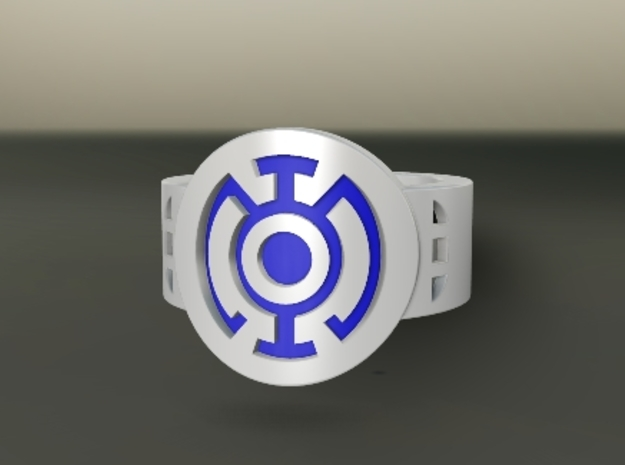 Blue Hope FF Ring Sz 15 3d printed Custom Enameled