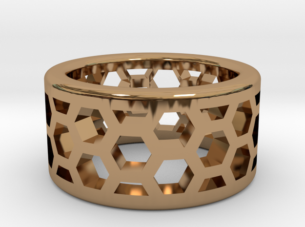 Straight Edge Honeycomb Ring in Polished Brass: 4.5 / 47.75