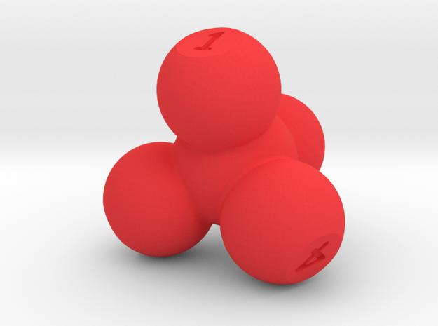 Molecular Four Sided Die in Red Processed Versatile Plastic
