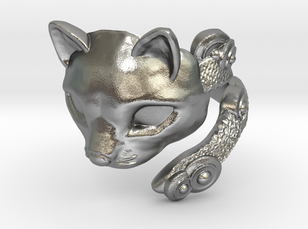 Cat Mask Ring in Natural Silver: 8 / 56.75