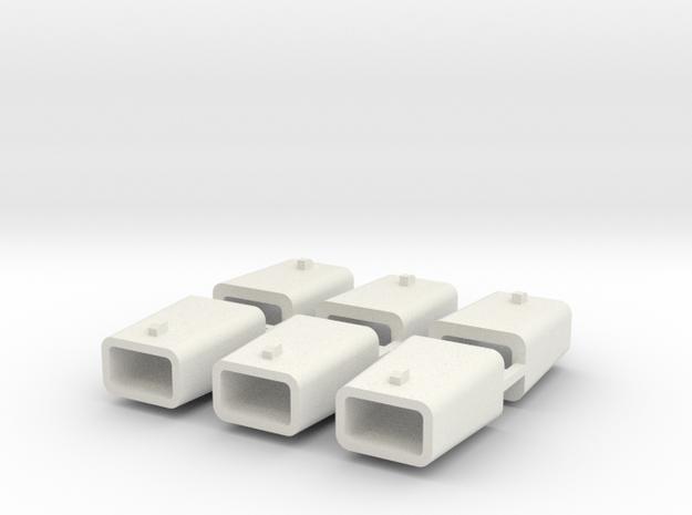 set4796 Stahlkokille 2 Zapfen quer ohne Boden 6erS in White Natural Versatile Plastic