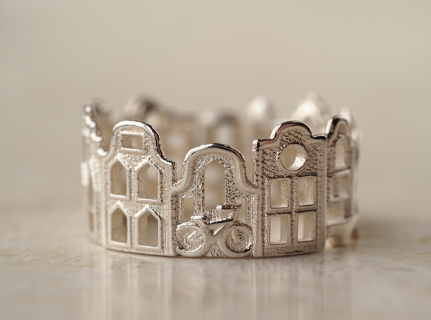 Amsterdam Ring - Gift for Traveler in Polished Silver: 5 / 49