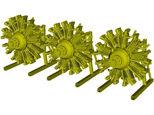 1/10 scale Wright J-5 Whirlwind R-790 engines x 3 in Frosted Ultra Detail