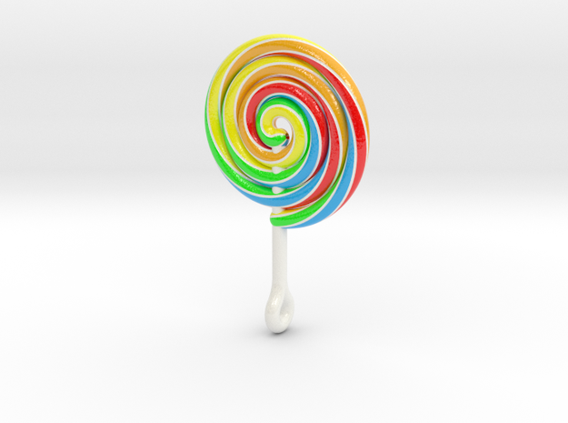 Colorful Swirl Lollipop pendant in Glossy Full Color Sandstone: Large