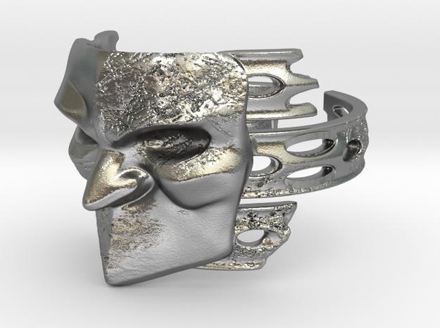 Bauta Mask Ring in Natural Silver: 8 / 56.75