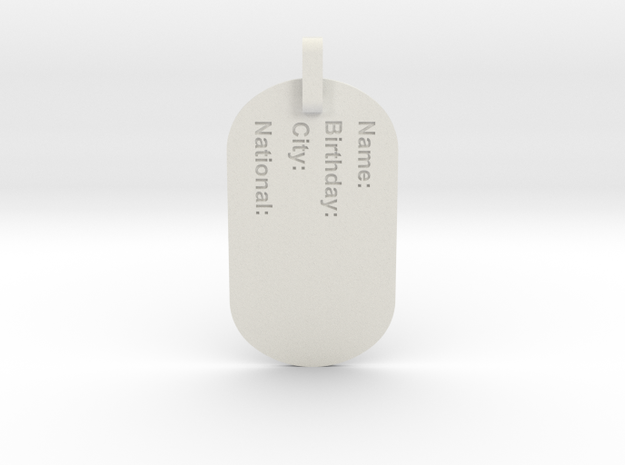 Dog Tag in White Natural Versatile Plastic
