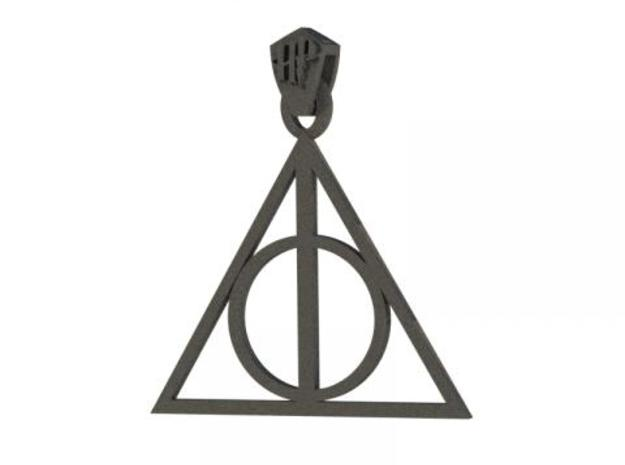 Deathly Hallows Pendant 3d printed Rendered in black