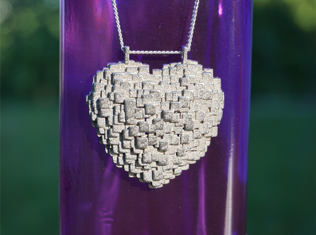 Pixelated Heart in Polished Gold Steel