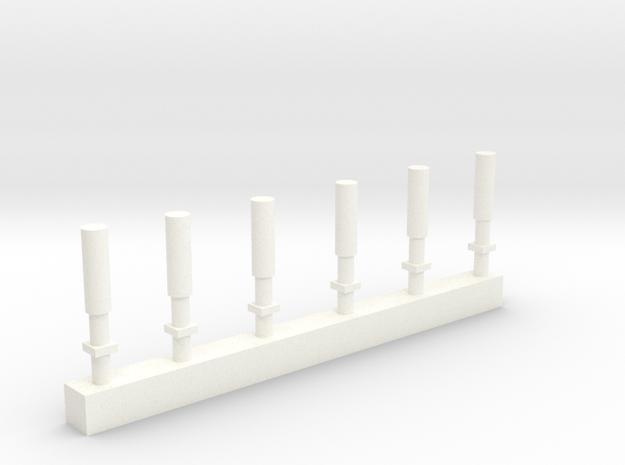 S 6 Firecracker Antennas in White Processed Versatile Plastic