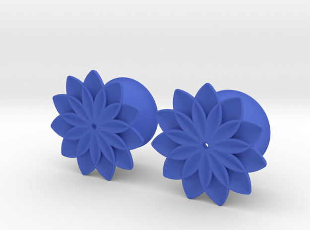 """5/8"""" ear plugs 16mm - Flowers - 11 petals in Blue Strong & Flexible Polished"""