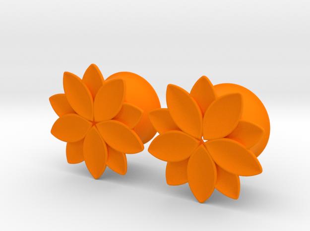 "Flower - 10 petals - 5/8"" ear plugs 16mm in Orange Strong & Flexible Polished"
