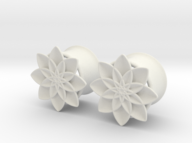 "5/8"" ear plugs 16mm - Flowers - 8 petals in White Natural Versatile Plastic"