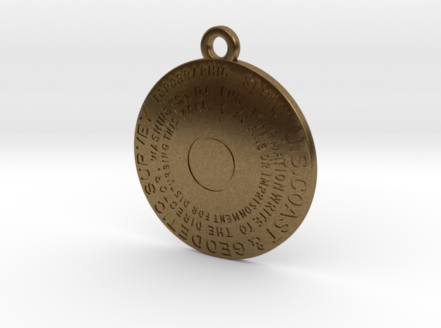Topographic Station Keychain in Natural Bronze
