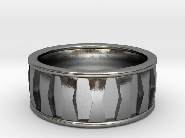 Hex Inset Ring in Polished Silver: 6 / 51.5