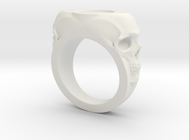 Skull Signet Ring blank size 12 in White Natural Versatile Plastic