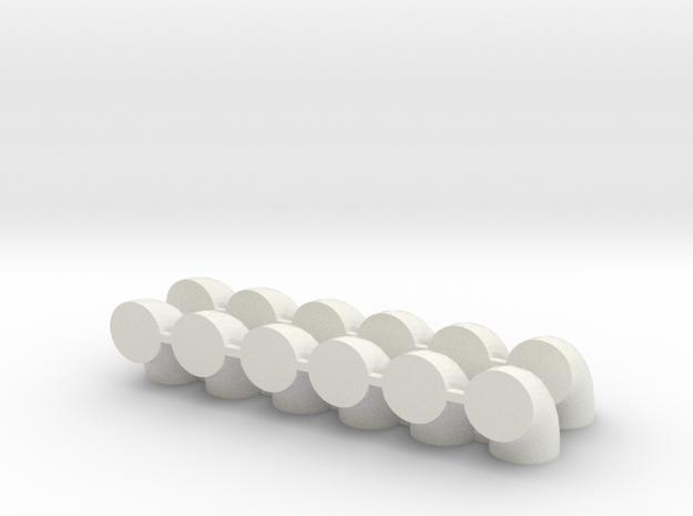 "'HO Scale' - (12) - 30"" Diameter Elbows in White Natural Versatile Plastic"