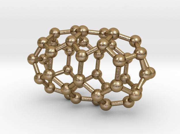 0632 Fullerene c44-3 d3d in Polished Gold Steel