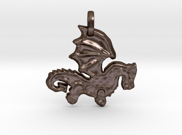 Celtic Dragon Pendant in Polished Bronze Steel