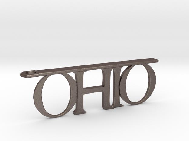 Ohio Bottle Opener Keychain in Polished Bronzed Silver Steel