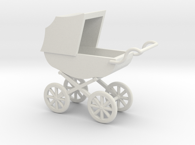 1:12 Pram in White Natural Versatile Plastic