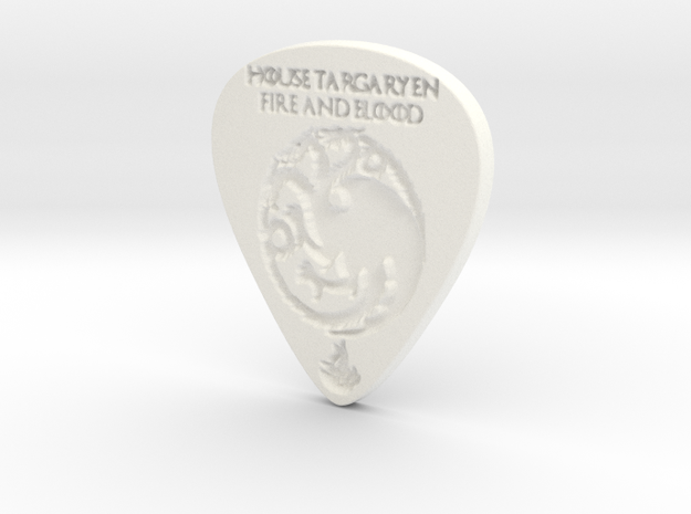 Game of Thrones House Targaryen Guitar Pick in White Processed Versatile Plastic