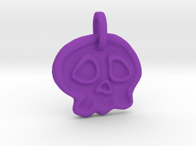 Skully Halloween Pendant in Purple Processed Versatile Plastic