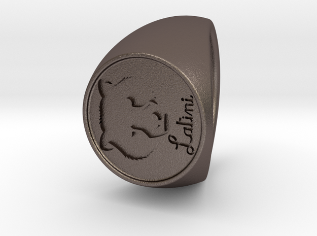 Custom Signet Ring 57 in Polished Bronzed Silver Steel