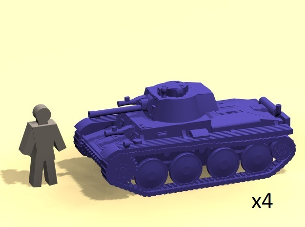 6mm Panzer 38(t) tank (x4) in Frosted Ultra Detail