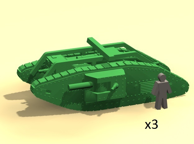 6mm Mk.V Male tanks with rails (3) in Smoothest Fine Detail Plastic