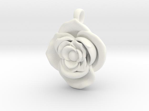 Large Rose  in White Processed Versatile Plastic