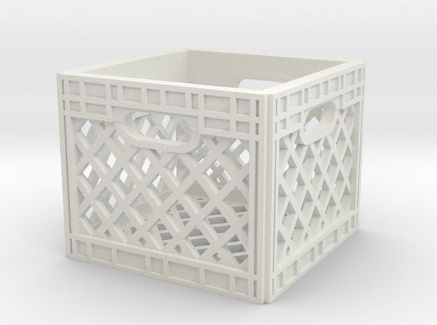 1:10 Scale Milk Crate in White Natural Versatile Plastic