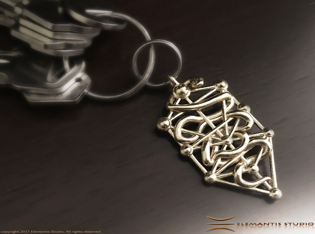 Kabbalah Serpent Keychain 4.5cm in Natural Brass