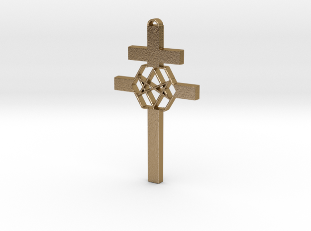 Thelema Cross in Polished Gold Steel