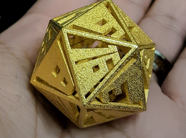 Vanishing Point d20, Hollow in Polished Gold Steel