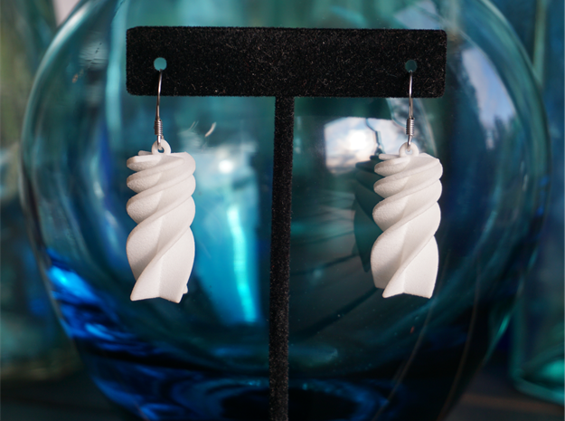 Exponential Rotini Earrings in White Strong & Flexible