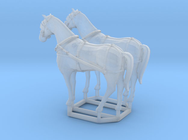 2 pack HO scale horses with harnesses variant 2 in Frosted Ultra Detail