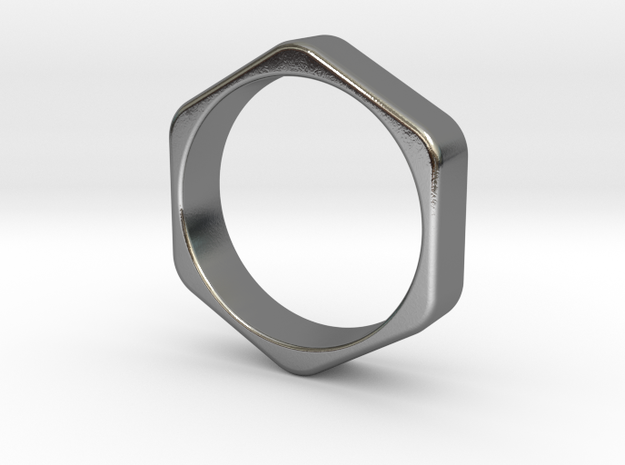 Hex Nut Ring - Size 10 in Polished Silver