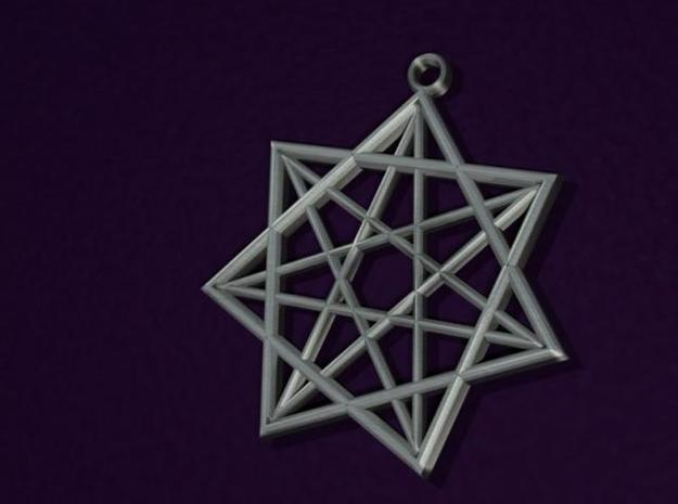 Double Heptagram Pendant 3d printed 3D rendering of pendant.