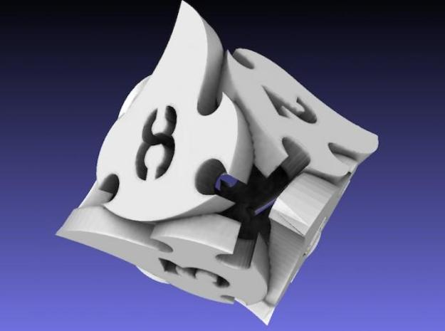 Tocrax Eight-Sided Die in White Natural Versatile Plastic