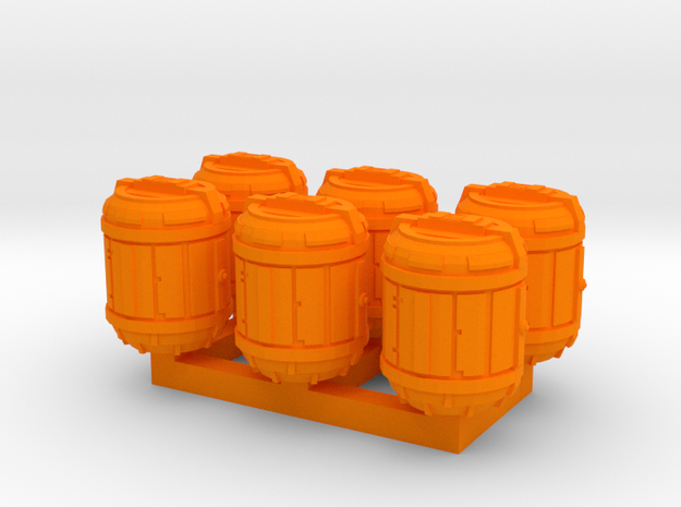1/87 Scale Bio Medical Containers x6 in Orange Strong & Flexible Polished