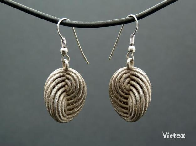 Running in Circles - Earrings (S) in Polished Bronzed Silver Steel