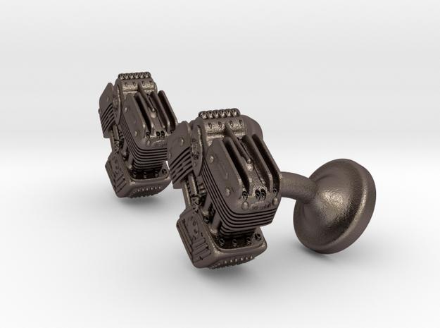 V Twin Engine Cufflinks in Polished Bronzed Silver Steel