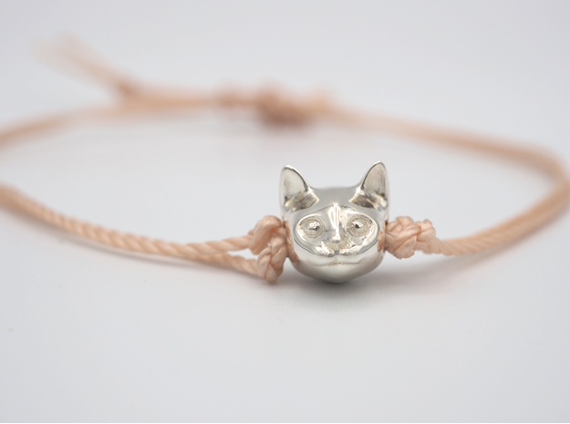 Cat Lady Friendship Bracelet Charm - Smiley Cat in Polished Silver