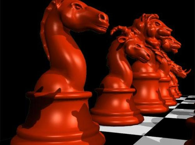 Individual Chess pieces - Animal Kingdom 3d printed Knight - render in Maya (red)