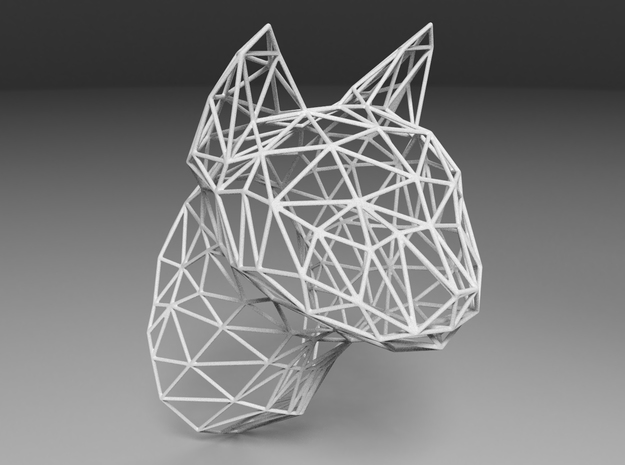 Wireframe Cat head in White Strong & Flexible