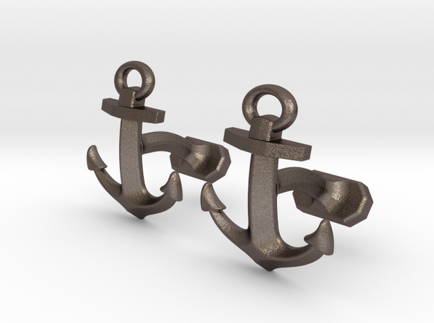 Anchor Cufflinks in Polished Bronzed Silver Steel