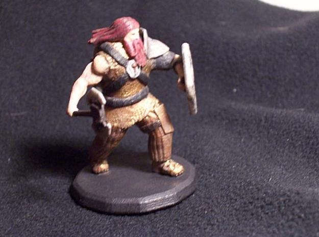 Dwarf Fighter (Large) 3d printed Painted (Front)