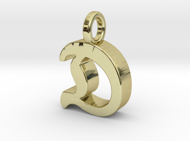 D - Pendant - 3 mm thk. in 18k Gold Plated Brass